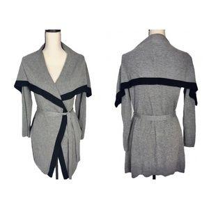 Anthropologie Yoon Colorblock Trim Wrap Sweater